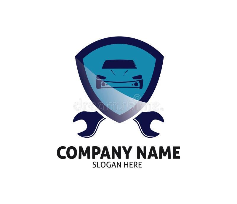 Projeto do logotipo do vetor do serviço de reparações do negociante do cuidado do carro auto ilustração stock