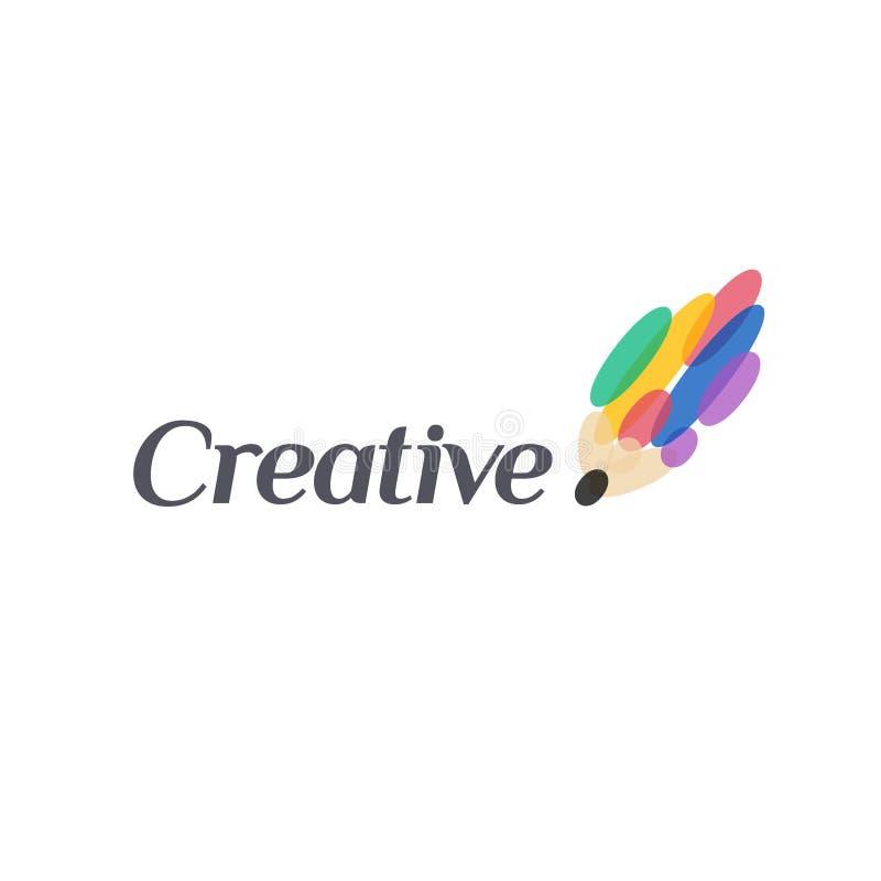 Projeto do logotipo do vetor Sinal do lápis creativo Ícone abstrato ilustração royalty free
