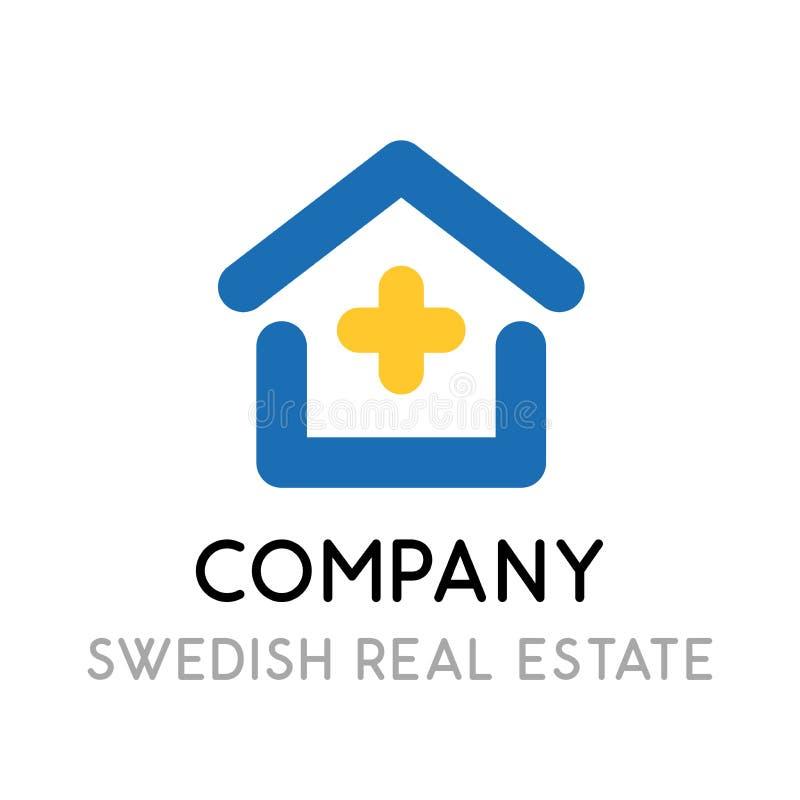 Projeto do Logotype para uma empresa contratada em bens imobiliários na Suécia - ícone do vetor com a casa nas cores da bandeira  ilustração stock