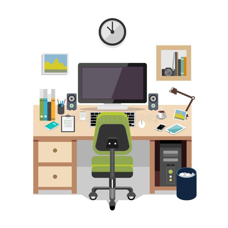 Projeto do lugar de trabalho Ilustração do espaço de trabalho ilustração do vetor