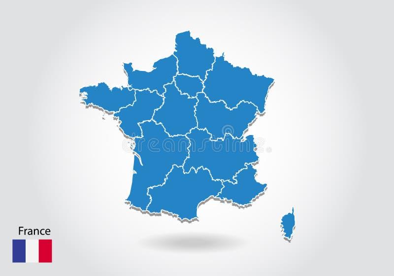 Projeto do mapa de França com estilo 3D Mapa azul de france e bandeira nacional Mapa simples do vetor com contorno, forma, esboço ilustração do vetor