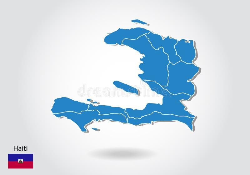 Projeto do mapa de Haiti com estilo 3D Mapa azul de haiti e bandeira nacional Mapa simples do vetor com contorno, forma, esboço,  ilustração royalty free