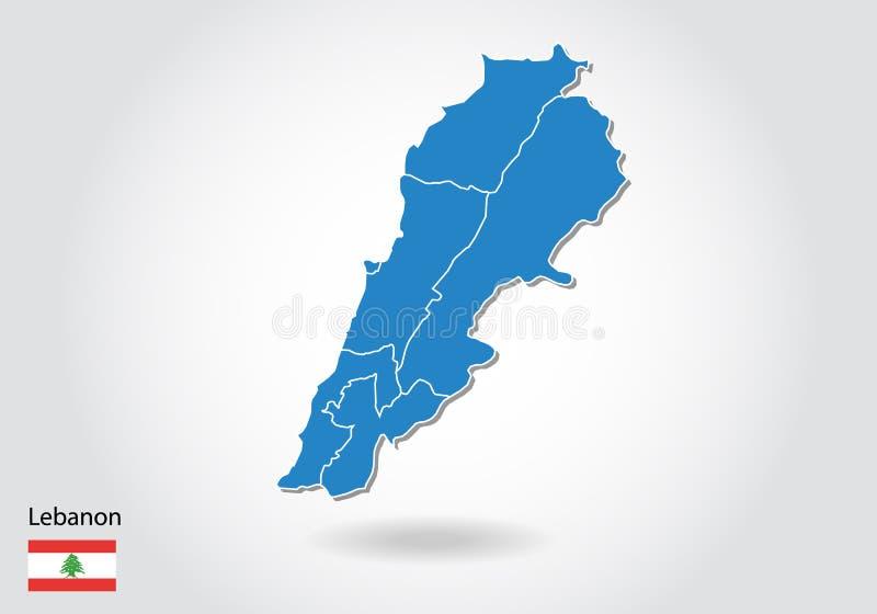 Projeto do mapa de Líbano com estilo 3D Mapa azul de Líbano e bandeira nacional Mapa simples do vetor com contorno, forma, esboço ilustração royalty free