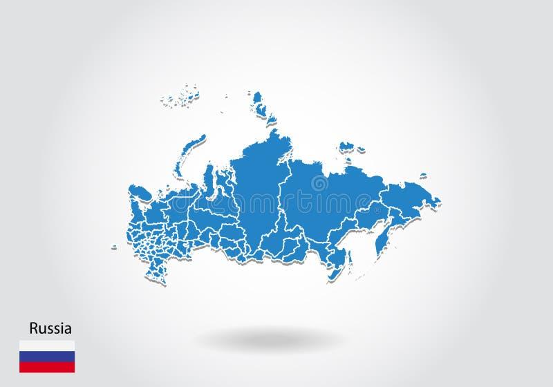 Projeto do mapa de Rússia com estilo 3D Mapa azul de Rússia e bandeira nacional Mapa simples do vetor com contorno, forma, esboço ilustração royalty free