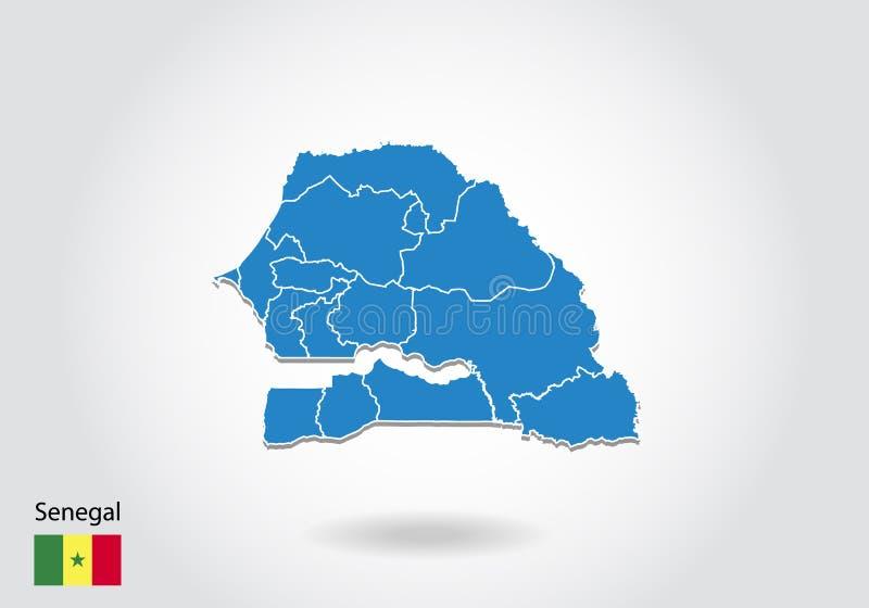 Projeto do mapa de Senegal com estilo 3D Mapa azul de senegal e bandeira nacional Mapa simples do vetor com contorno, forma, esbo ilustração do vetor