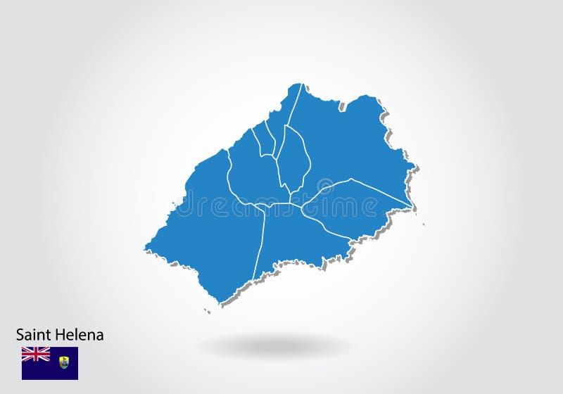 Projeto do mapa de St Helena com estilo 3D Mapa azul de St Helena e bandeira nacional Mapa simples do vetor com contorno, forma,  ilustração do vetor