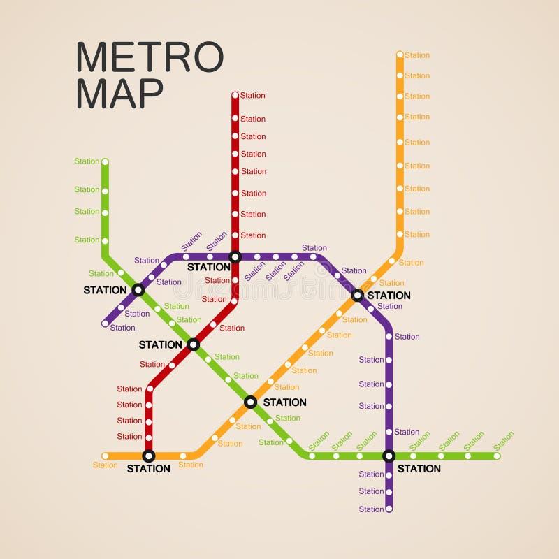 Projeto do mapa do metro ou do metro ilustração royalty free
