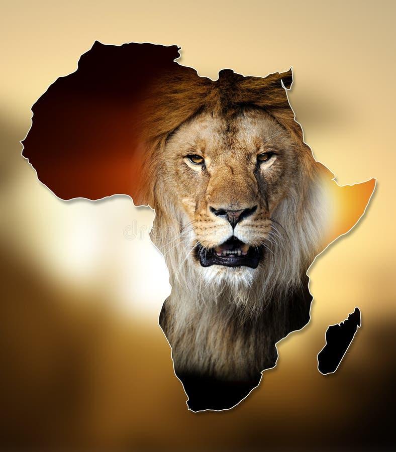 Projeto do mapa dos animais selvagens de África imagem de stock