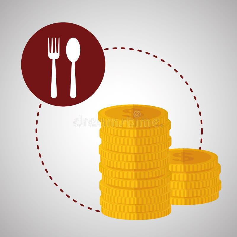 Projeto do menu Ícone da moeda Conceito do restaurante ilustração stock
