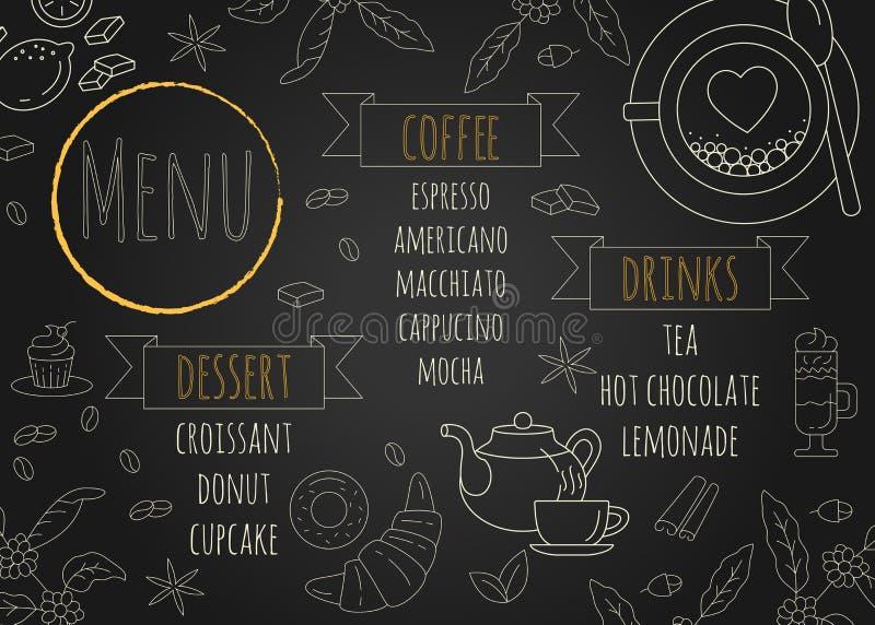 Projeto do menu do café do restaurante com fundo do quadro ilustração stock