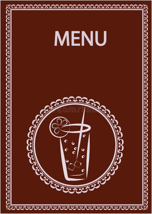 Projeto do menu da barra do restaurante e de suco ilustração do vetor