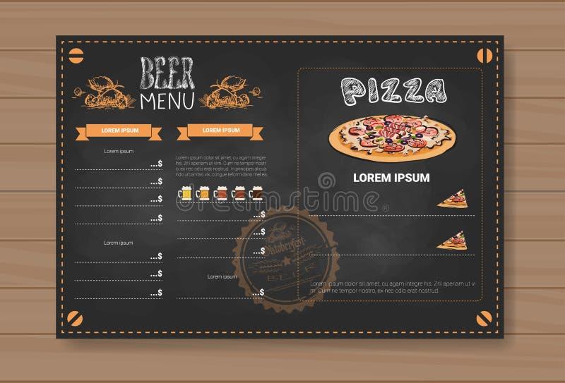Projeto do menu da cerveja e da pizza para o bar do café do restaurante riscado no fundo Textured de madeira ilustração stock