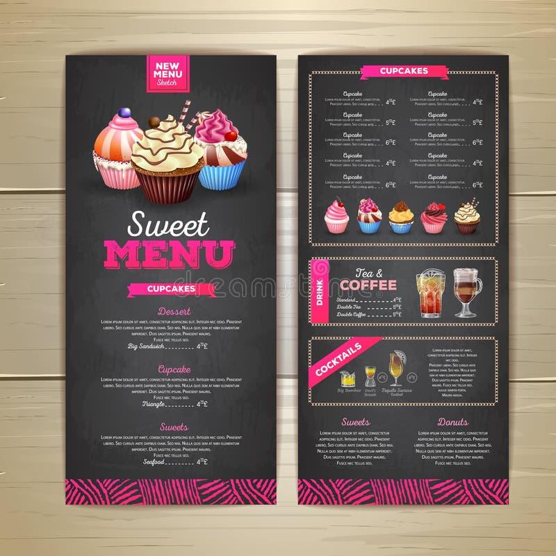 Projeto do menu da sobremesa do desenho de giz do vintage queque doce ilustração royalty free