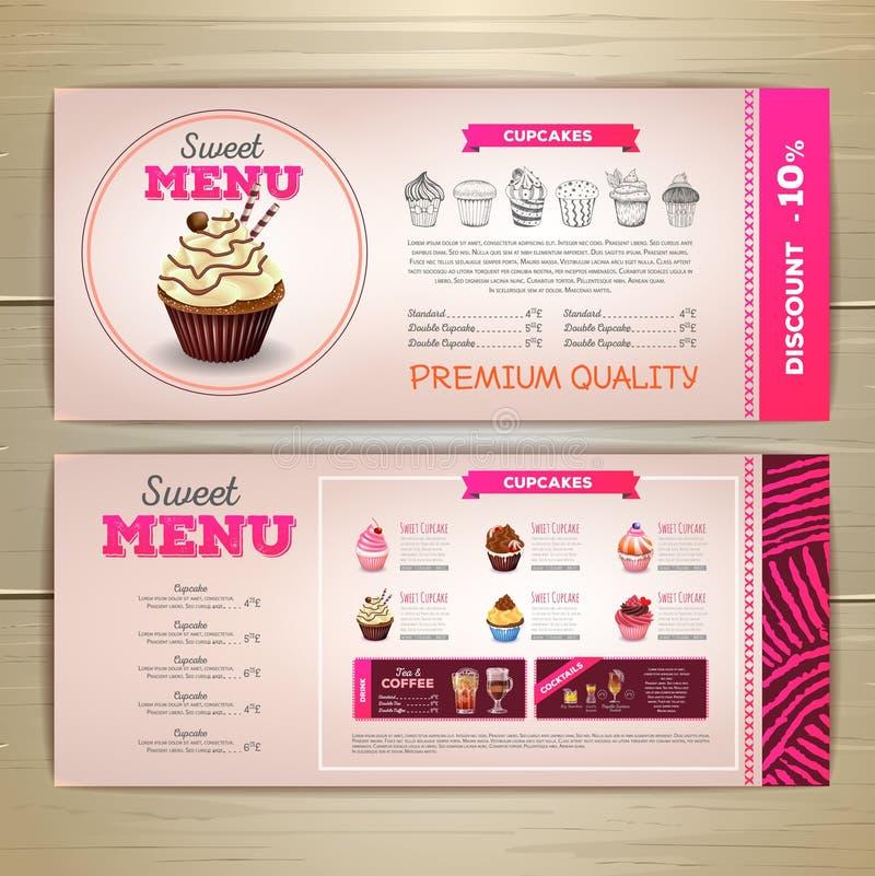 Projeto do menu da sobremesa do vintage queque doce ilustração do vetor