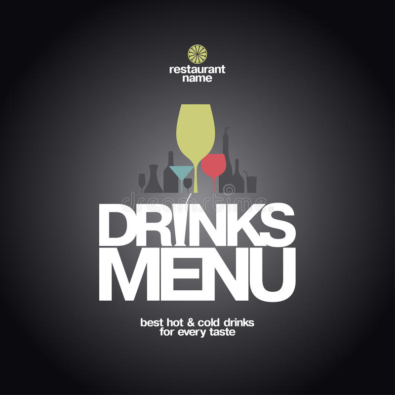Projeto do menu das bebidas. ilustração stock