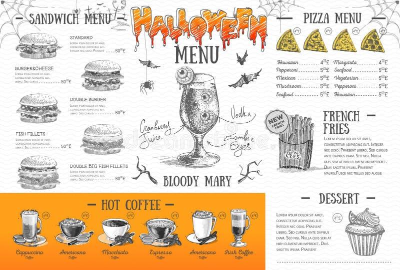 Projeto do menu do Dia das Bruxas do vintage O jantar de casamento com carne do rolo fumou e tomates ilustração do vetor