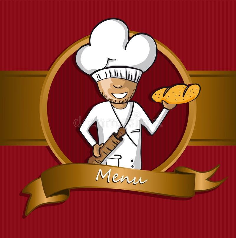 Projeto do menu do crachá dos desenhos animados do cozinheiro chefe do padeiro ilustração royalty free