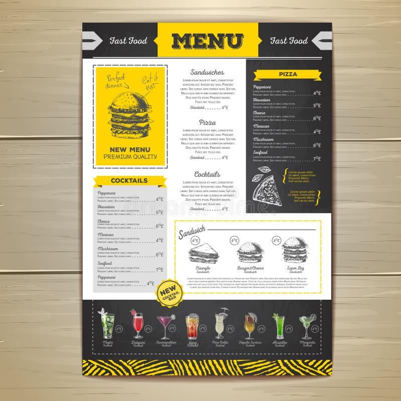 Projeto do menu do fast food do desenho de giz do vintage ilustração do vetor