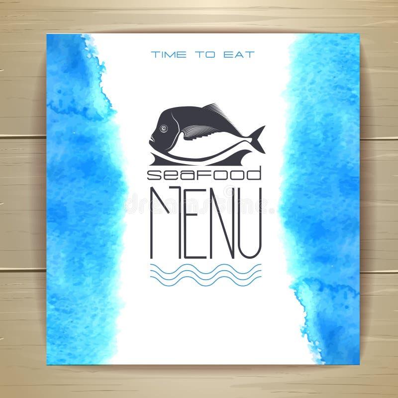 Projeto do menu do marisco com peixes ilustração royalty free