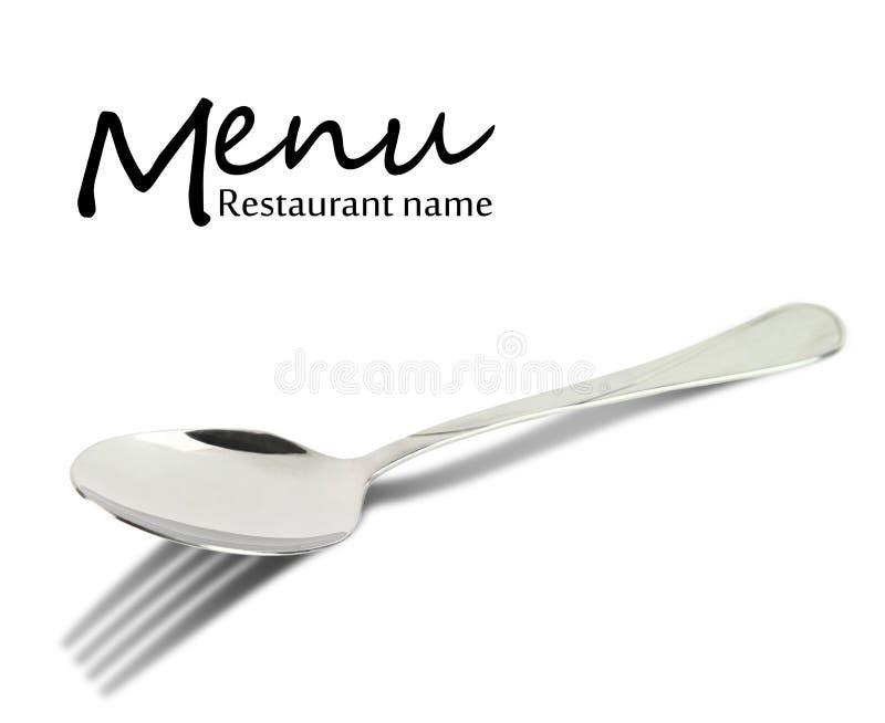 Projeto do menu do restaurante. Colher com sombra da forquilha foto de stock