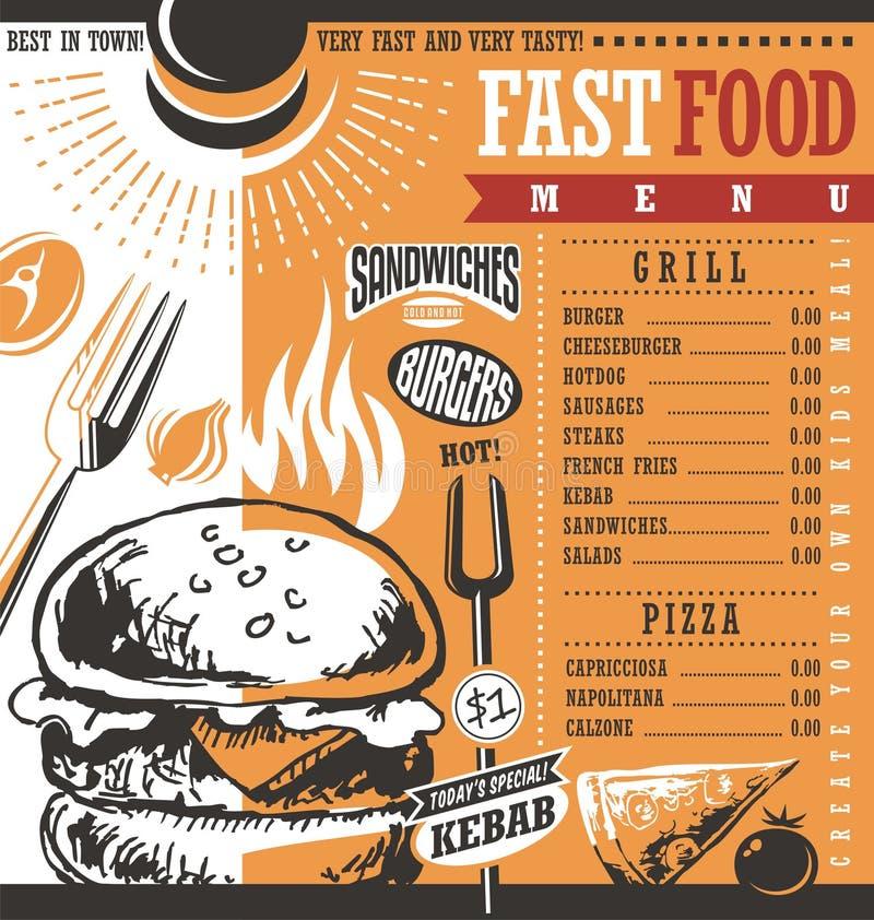 Projeto do menu do restaurante do fast food ilustração do vetor
