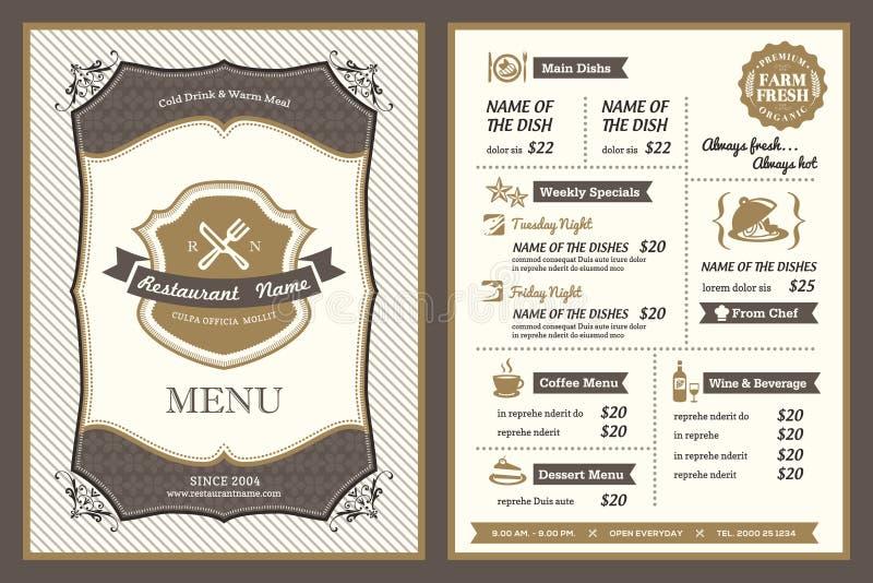 Projeto do menu do restaurante do quadro do vintage ilustração royalty free
