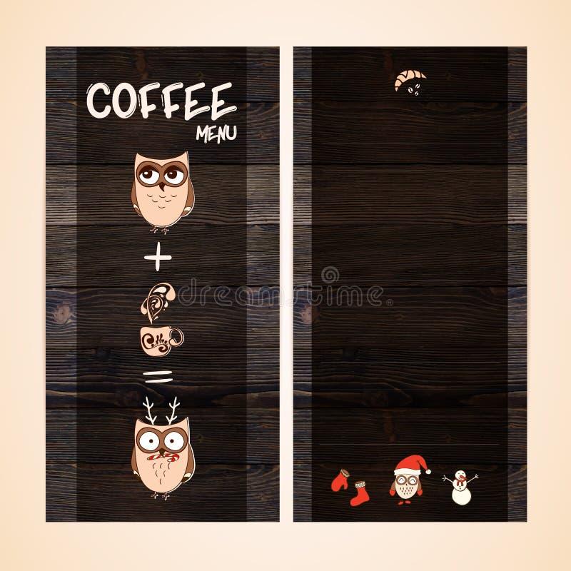 Projeto do menu do restaurante no fundo de madeira Vector o molde para o café, casa do café, barra Textura da madeira do vintage ilustração do vetor