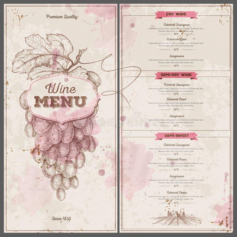 Projeto do menu do vinho do vintage Molde do original ilustração royalty free