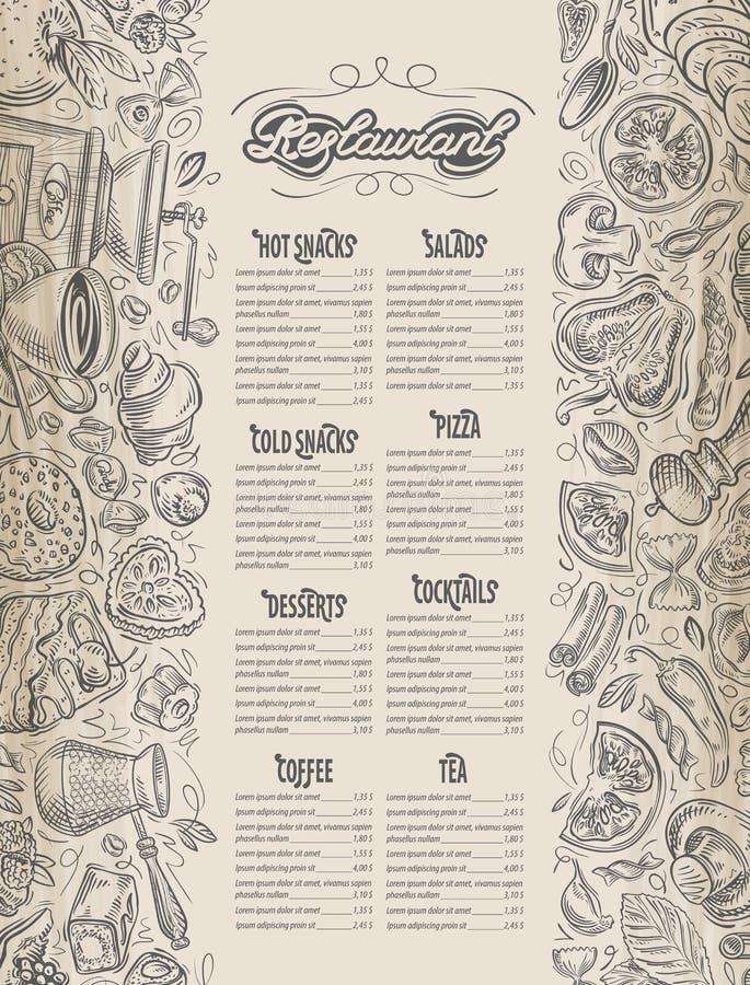 Projeto do menu folheto do restaurante Teste padrão do vetor do café com os gráficos tirados mão no tema do alimento e da bebida ilustração stock