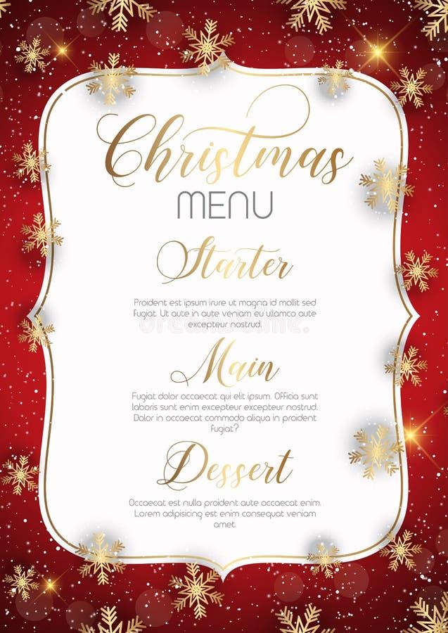 Projeto do menu do Natal com flocos de neve dourados ilustração do vetor