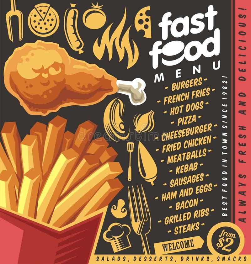 Projeto do menu do restaurante do fast food com batatas fritas e frango frito ilustração royalty free