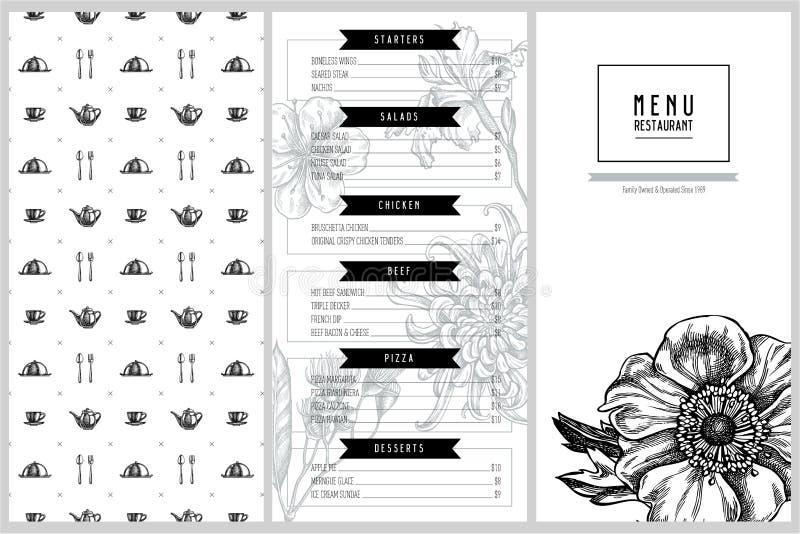 Projeto do menu do vintage com crisântemo japonês, lírio da amora-preta, flor do eucalipto, anêmona, japonica da íris, sakura ilustração stock