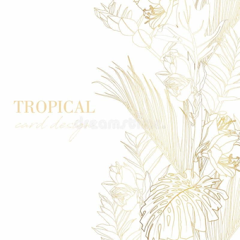 Projeto do molde do cartão do cumprimento/convite das hortaliças, folhas com as flores com os gráficos tirados mão da garatuja ilustração royalty free