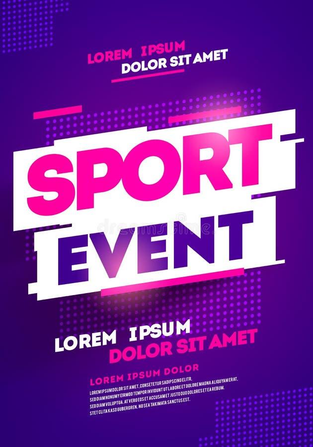 Projeto do molde do cartaz da disposição para o evento desportivo, o competiam ou o campeonato ilustração do vetor