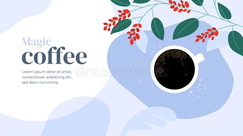 Projeto do molde com café mágico ilustração do vetor