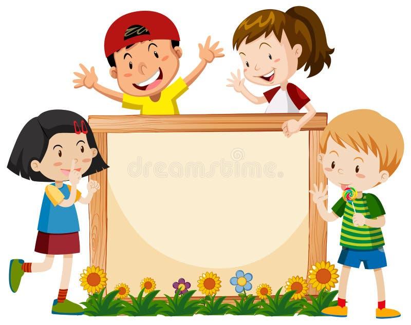 Projeto do molde da bandeira com muitas crianças e flores ilustração do vetor