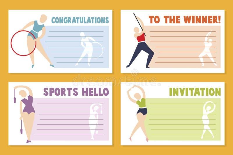 Projeto do molde da bandeira da disposição para o evento desportivo, o competiam ou o campeonato - cartão do esporte ilustração stock