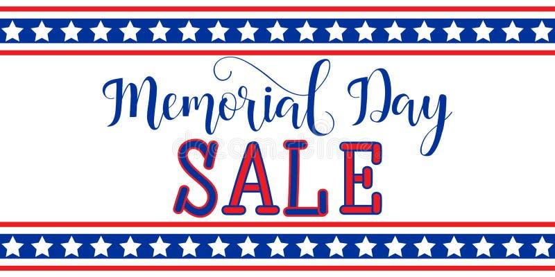Projeto do molde da bandeira da venda de Memorial Day Feriado americano nacional Rotulação da mão Ilustração do vetor ilustração royalty free