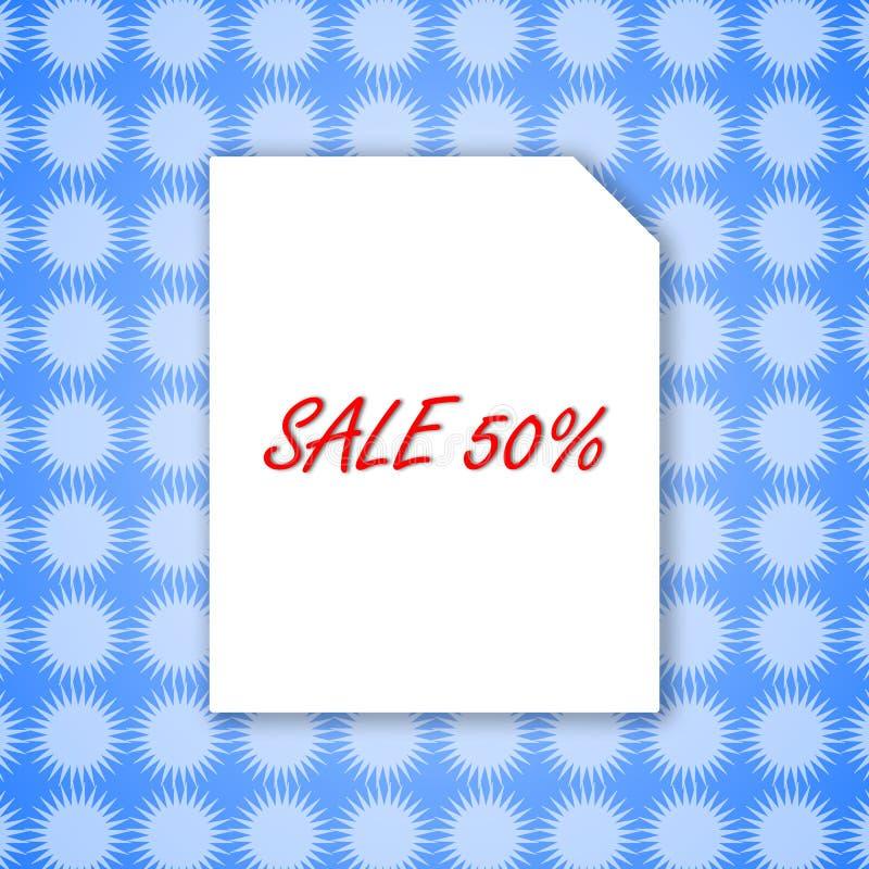 Projeto do molde da bandeira 50% da venda no Livro Branco e fundo azul para a ilustração do vetor do cartaz ilustração stock