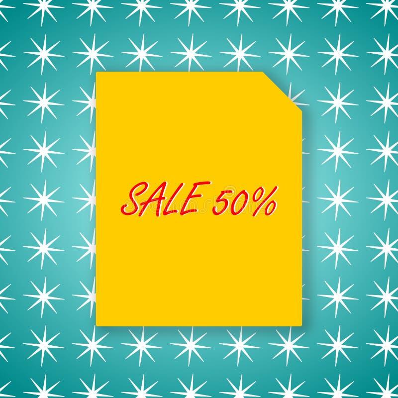 Projeto do molde da bandeira 50% da venda no papel amarelo e fundo verde para a ilustração do vetor do cartaz ilustração stock