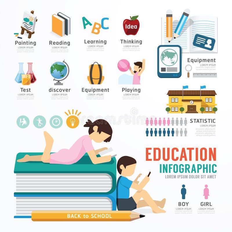Projeto do molde da educação de Infographic vetor do conceito ilustração stock