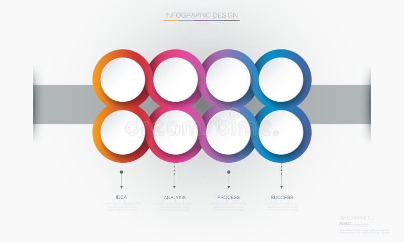 Projeto do molde da etiqueta do círculo de Infographic 3d do vetor Infograph com 8 opções ou etapas do número ilustração royalty free