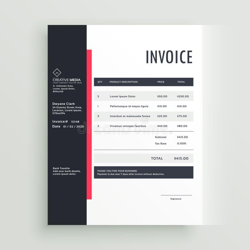 Projeto do molde da fatura do negócio ilustração do vetor