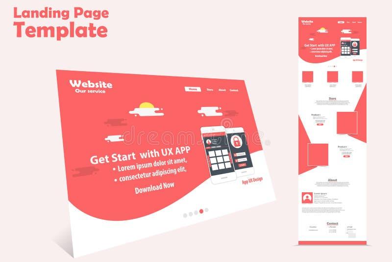 Projeto do molde da página da aterrissagem do Web site para a promoção ilustração stock