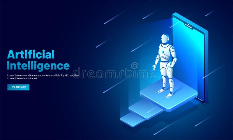 Projeto do molde da Web da inteligência artificial (AI), smar isométrico ilustração do vetor
