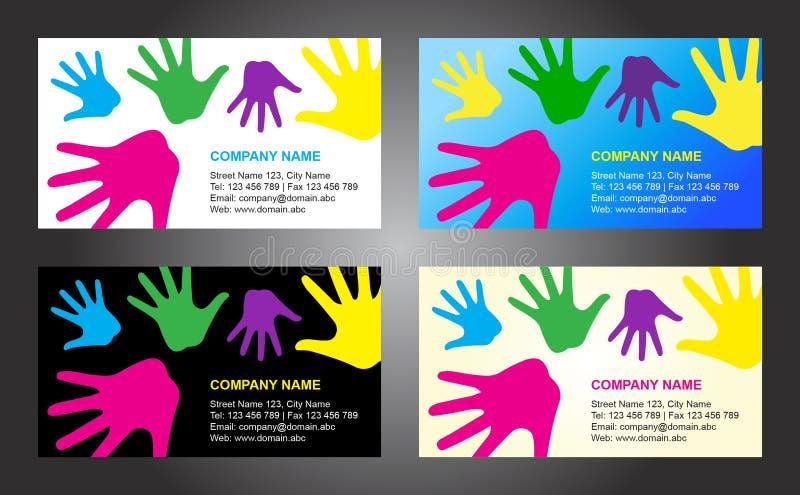 Projeto do molde do cartão das mãos ilustração do vetor