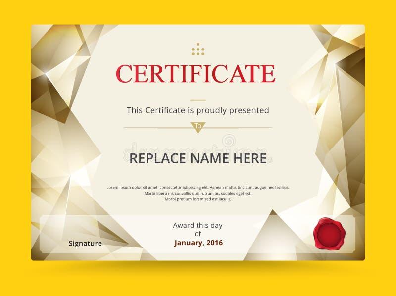 Projeto do molde do certificado do diploma da geometria com international ilustração stock