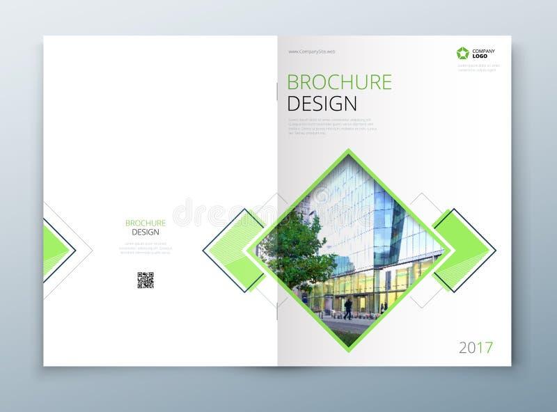 Projeto do molde do folheto da tampa Escuro - azul Informe anual da empresa, catálogo, compartimento, modelo do inseto creativo ilustração do vetor