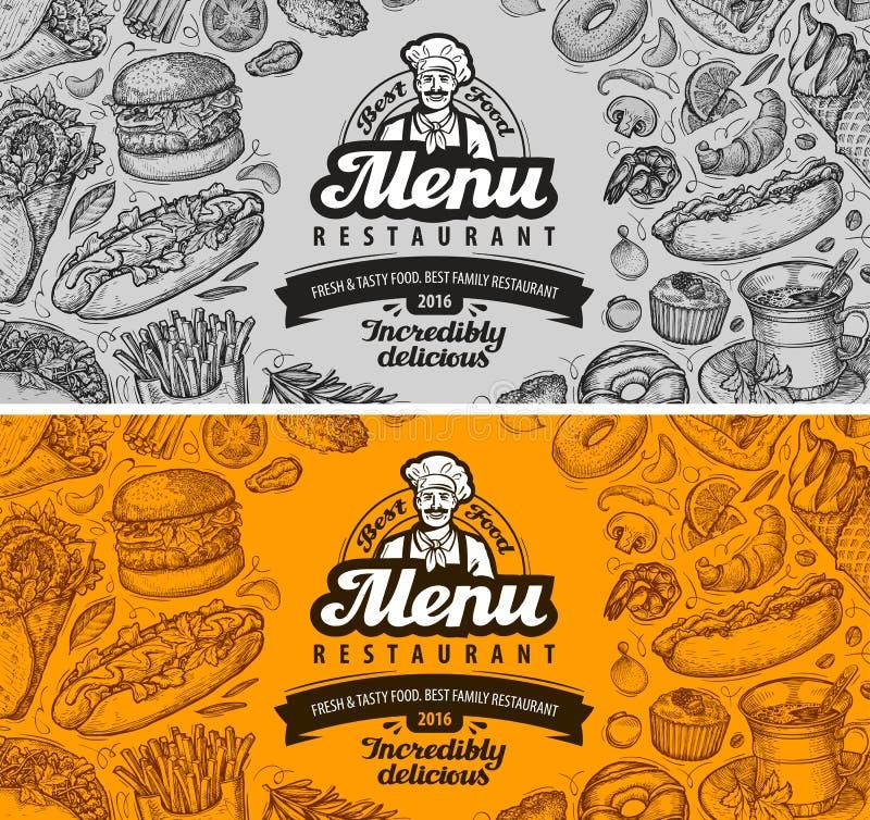 Projeto do molde do menu do café do restaurante alimento do esboço ilustração stock
