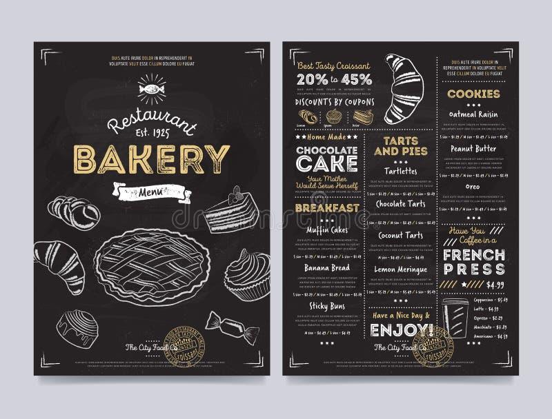 Projeto do molde do menu do café do restaurante, vetor ilustração stock